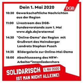 1. Mai 2020 Ablaufplan