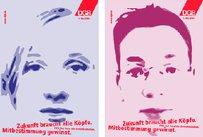 Plakatserien mit stilisierten Köpfen. Zukunft braucht alle Köpfe. Mitbestimmung gewinnt.
